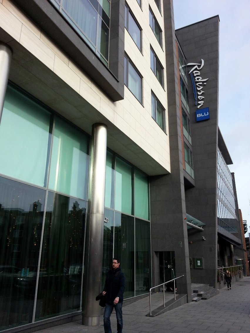 Colour photograph of the exterior view of the Radisson Blu Hotel, Golden Lane, Dublin.