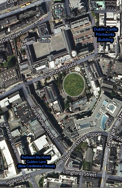 Colour satellite photograph showing a large scale View of the Radisson Blu Hotel, Golden Lane, Dublin ... and the Streets around.